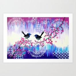 Blue Wrens from Australia Art Print