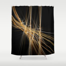 Firecracker | Geometric Line Abstract Shower Curtain