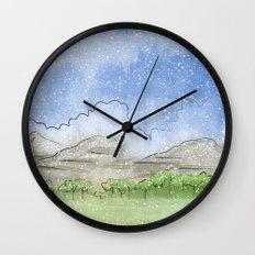 Snowy Watercolor Landscape Wall Clock
