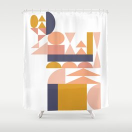 Small Shapes in Earthy Colors Shower Curtain