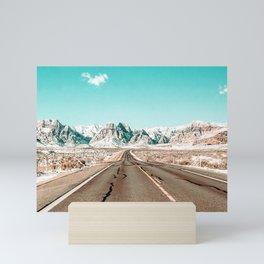 Vintage Desert Road // Winter Storm Red Rock Canyon Las Vegas Nature Scenery View Mini Art Print