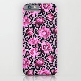 Pink leopard pattern pink roses iPhone Case
