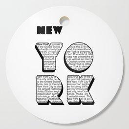 New York in writing Cutting Board