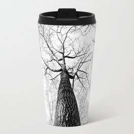 High in the Sky- Photo of top of tree from ground looking up Travel Mug
