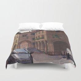 STREET SCENE, Bologna Travel Sketch by Frank-Joseph Duvet Cover