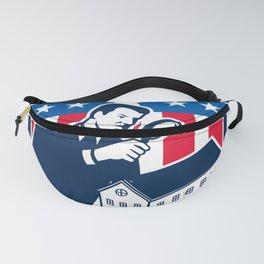 American School Inspector  USA Flag Icon Retro Fanny Pack