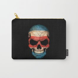 Dark Skull with Flag of Costa Rica Carry-All Pouch