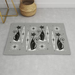 Mid Century Meow Atomic Cats on Cool Gray ©studioxtine Rug