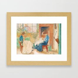 Two Girls Sewing by Carl Larsson Framed Art Print