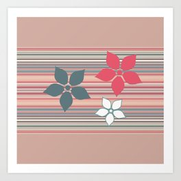 Decorative Neutral Flower Pattern Art Print