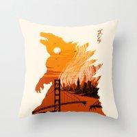 godzilla Throw Pillows featuring Godzilla  by tim weakland
