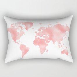 Pink Shiny Metal Foil Rose Gold World Map Rectangular Pillow