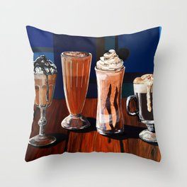 Coffee Shake Chocolate Drinks by Sonya Allen Throw Pillow