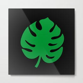 Philodendrons Pattern - Green on Black Metal Print
