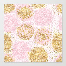 Pink and Gold Watercolor Floral Canvas Print