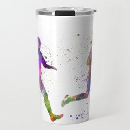 Girls playing soccer football player silhouette Travel Mug