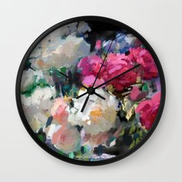 Still Life with White & Pink Roses Wall Clock
