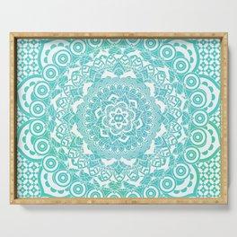 Sea Green Ombre, Indian Mandala Pattern Serving Tray