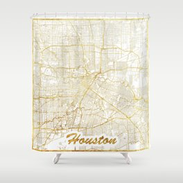 Houston Map Gold Shower Curtain