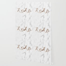 Rose gold marble XOXO Wallpaper