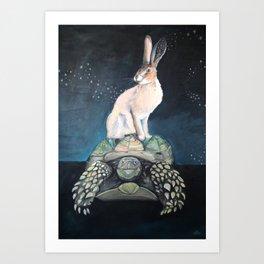 Midnight Tortoise and Hare Art Print