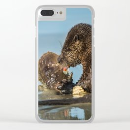 River Otter Meets Crab Clear iPhone Case