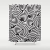 milan Shower Curtains featuring Modern Scandinavian B&W Black and White Curve Graphic Memphis Milan Inspired by Season of Victory
