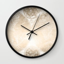 Antique World Map White Gold Wall Clock