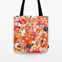 girls Tote Bags featuring Girls by Mouni Feddag
