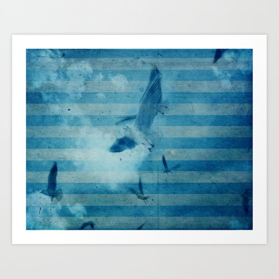 seagull in cyan Art Print