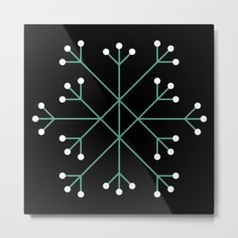 Mod Snowflake Dark Wintergreen Metal Print