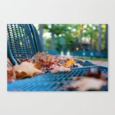 Bench with Autumn Leaves Canvas Print