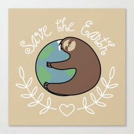 Save The Earth Sloth Canvas Print
