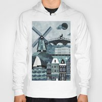 travel poster Hoodies featuring Amsterdam Travel Poster by ClaireIllustrations