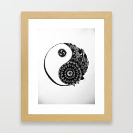 Ying Yang Zentangle Framed Art Print