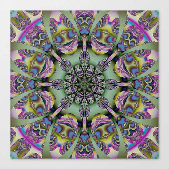 Colourful mandala with decorative shapes and tribal patterns Canvas Print