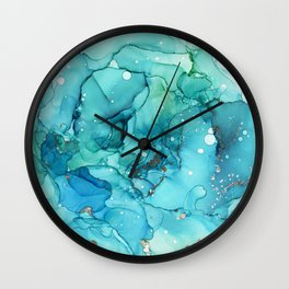 Teal Chrome Flowing Abstract Ink Wall Clock