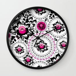 Vintage shabby Chic ornament with Pink and Black flowers and leaves Wall Clock