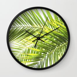 Palm leaves tropical illustration Wall Clock