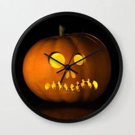 IV - Halloween pumpkin on a black reflective surface Wall Clock