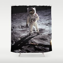 Apollo 11 - Iconic Buzz Aldrin On The Moon Shower Curtain