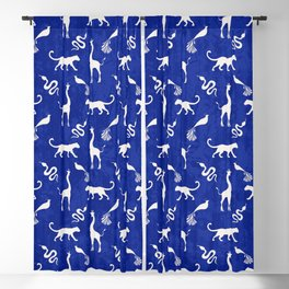 Animal kingdom. Black silhouettes of wild animals. African giraffes, leopards, cheetahs. snakes, exotic tropical birds. Tribal primitive ethnic nature navy grunge distressed pattern. Blackout Curtain