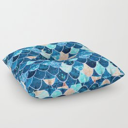 REALLY MERMAID BLUE & GOLD Floor Pillow