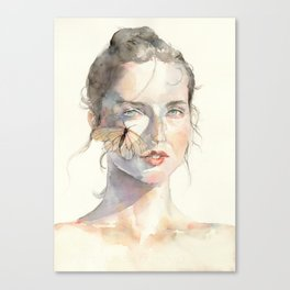 Sunny Day Portrait, Ephemeral Youth, Watercolor Butterfly Canvas Print