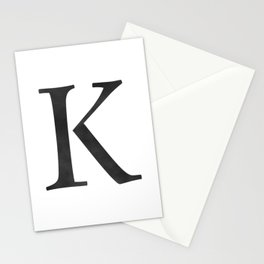 Letter K Initial Monogram Black and White Stationery Cards