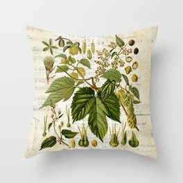 Common Hop Botanical Print on Vintage almanac collage Throw Pillow