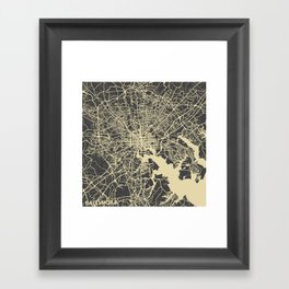 Baltimore map Framed Art Print