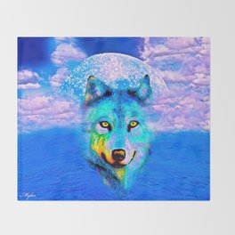 Wolf Moon and the Deep Blue Sea Throw Blanket