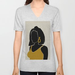 Black Hair No. 11 Unisex V-Neck