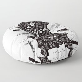 Seattle Illustrated Map in Black and White - Single Print Floor Pillow
